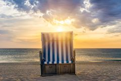 Beach chair - Kampen, Sylt. Sunset and beach chair - Kampen, Sylt Royalty Free Stock Image