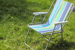 Beach chair on the lawn Stock Image