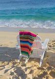Beach chair near ocean Royalty Free Stock Photo