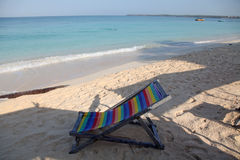 Beach and chair. Nice beach at tayrona national park in  colombia Royalty Free Stock Photography