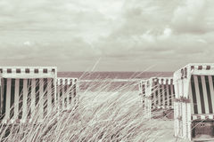 Beach chair on the north sea Royalty Free Stock Images
