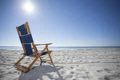 Beach Chair at the Ocean Stock Photography