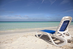 Beach chair by ocean with instagram effect Royalty Free Stock Photography