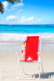 Beach chair by the ocean Stock Photos