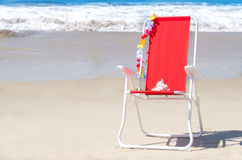 Beach chair by the ocean Royalty Free Stock Image