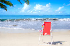Beach chair by the ocean Stock Image