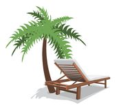 Beach chair with palm Royalty Free Stock Image