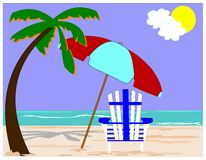 Beach chair with palms. Single beach chair  in sand with palms overhead Royalty Free Stock Photos