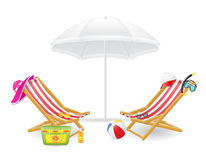 Beach chair and parasol vector illustration Royalty Free Stock Photos