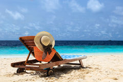 Beach chair on perfect tropical beach Royalty Free Stock Photo