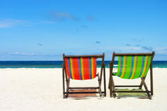 Beach chair on perfect tropical sand beach Royalty Free Stock Photo