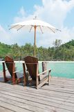 Beach chair at the resort, thailand Stock Photos