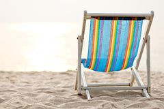 Beach chair on sand Royalty Free Stock Photo
