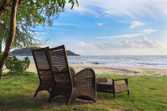 Beach chair on sand beach for relaxing. Time stock photo