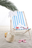Beach chair in the sand Stock Image