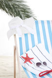 Beach chair in the sand Royalty Free Stock Photo