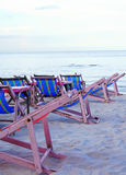 Beach chair on sand over cloudy sky. Of Hua hin Thailand beach Stock Photo