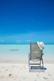 Beach chair on the sand in Turks and Caicos Royalty Free Stock Photo