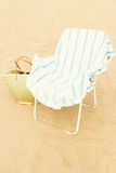 Beach chair with sandals Stock Photography