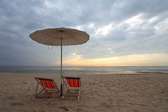 Beach chair and sea. Two beach chair and the sea in the morning Stock Photos