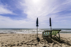 Beach chair Sea Stock Photo