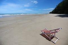 Beach chair on seashore Royalty Free Stock Photos