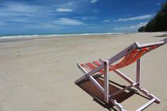 Beach chair on seashore Royalty Free Stock Image