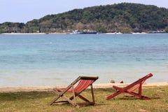 Beach chair on the seaside. Wood beach chair on the seaside stock photos