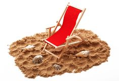 Beach chair with shellfish in white background. Beach chair with shellfish on white background Stock Photo