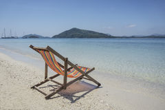 Beach chair at sunny beach in Thailand Royalty Free Stock Photo