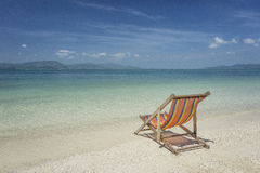 Beach chair at sunny beach in Thailand Stock Photo