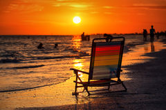 Beach Chair at Sunset. Stock Images