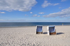 Beach chair. At the beach of Sylt at Westerland stock images