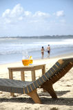 Beach chair and table Royalty Free Stock Images