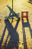 Beach chair and table, Damietta, Egypt Stock Images