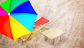 Beach chair, table and multy colored umbrella. Beach chair, table and multy colored umbrella on sandy beach. Vacation. Travel. Top view. 3D illustration stock illustration