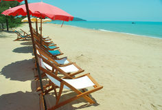 Beach chair. For tourist relax royalty free stock images