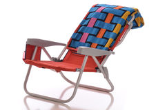 Beach Chair. With towel - isolated on white background Stock Image