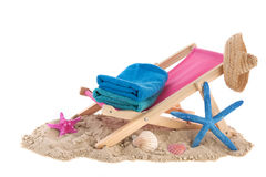 Beach chair with towels Royalty Free Stock Image