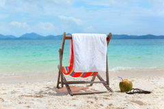 Beach chair on tropical summer beach Royalty Free Stock Images