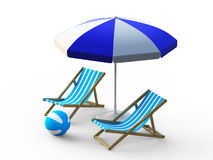 Beach chair and umbrella Royalty Free Stock Images