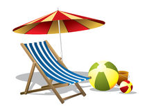 Beach chair with umbrella royalty free illustration
