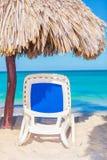 Beach chair and umbrella on  beach Stock Photography