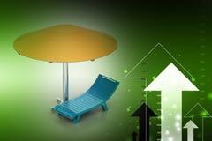 Beach chair with umbrella Stock Photos