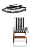 Beach chair with umbrella front view Stock Photography