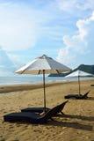 Beach chair and umbrella on Pranburi beach Royalty Free Stock Photo