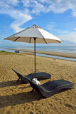 Beach chair and umbrella on Pranburi beach Royalty Free Stock Images