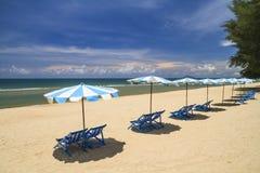 Beach chair and umbrella Royalty Free Stock Photos