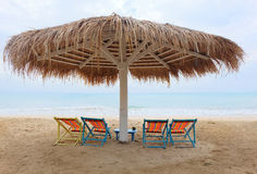Beach chair and umbrella Stock Photo