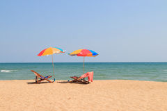 Beach chair and umbrella Stock Photography